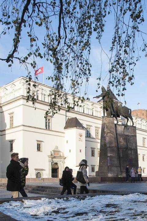 Bild: Die Statue des Großfürsten Gediminas von Litauen auf dem Platz vor der Kathedrale St. Stanislaus in Vilnius. Nikon D700 mit AF-S NIKKOR 28-300 mm 1:3.5-5.6G ED VR.
