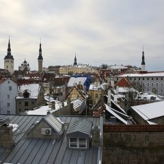 Bild: Blick von der Stadtmauer an der Müürivahe auf die historische Unter- und Oberstadt von Tallinn.