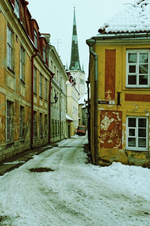 Bild: In der Laboratooriumi in der Altstadt von Tallinn. Im Hitergrund ist die Turmspitze der Oleviste Kirik (Kirche St. Olav) zu sehen.