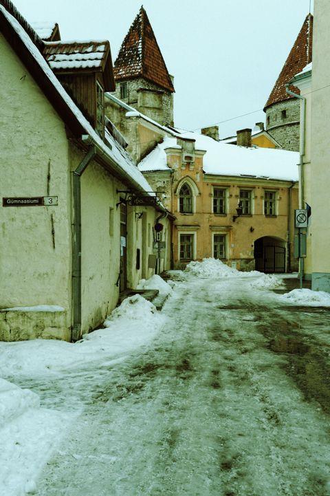 Bild: In der Laboratooriumi in der Altstadt von Tallinn. Die Häuser schmiegen sich eng an die alte Stadtmauer.