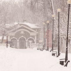 Bild: Und schon schneit es wieder in Tallinn. Unterwegs im Park von Kadriorg.