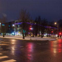 Bild: Noch einmal das SOLARIS CENTER in Tallin am frühen Morgen.