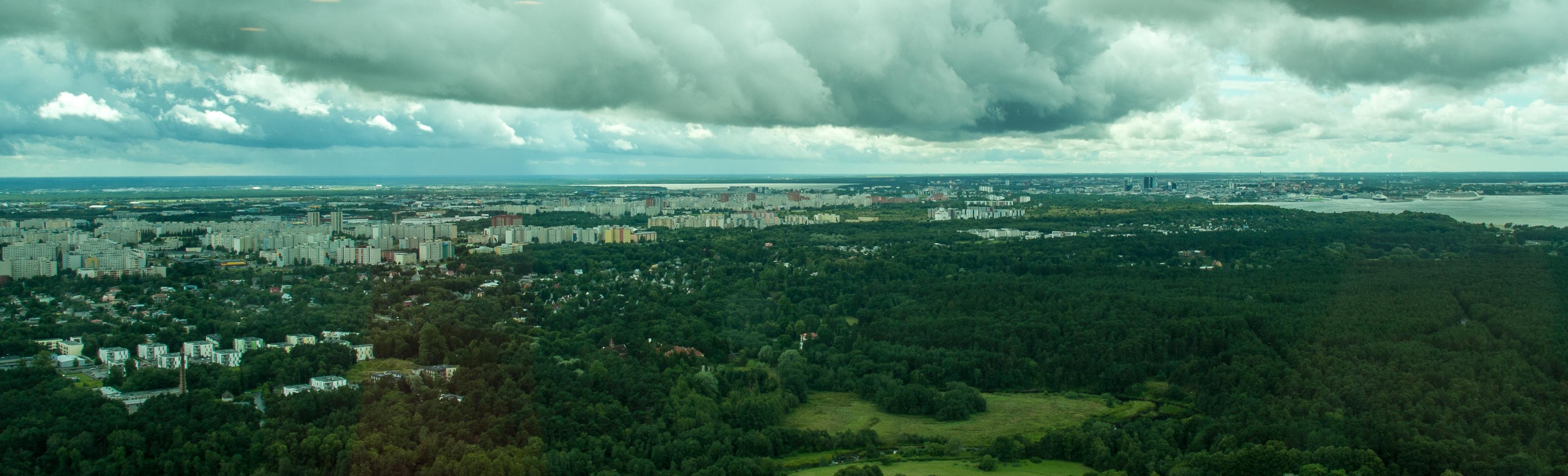 Bild: Die Plattenbausiedlung Lasnamäe - ein Stadtteil von Tallinn - von der Besucherplattform des Fernsehturmes aus gesehen. Klicken Sie auf das Bild um es zu vergrößern.