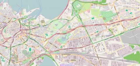 Bild: Karte von Tallinn mit dem im obenstehenden Bild sichtbaren Ausschnitt. Die Karte ist ausgenordet. Klicken Sie auf die Karte um sie zu vergrößern.