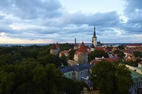 Bild: Tallinn - Unterwegs zur Blauen Stunde auf dem Toompea, dem Domberg. Auf der Aussichtsplattform an der Patkuli Trepp. NIKON D700 und AF-S NIKKOR 24-120 mm 1:4G ED VR.