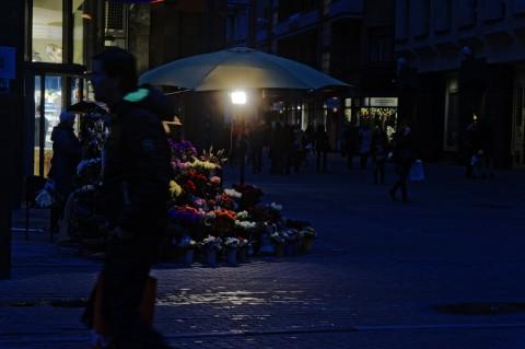 Bild: Blumen gibt es auf dem Freiheitsplatz rund um die Uhr. NIKON D700 mit AF-S NIKKOR 24-120 mm 1:4G ED VR. ISO 1250 ¦ f/5,6 ¦ 90 mm ¦ 1/60 s ¦ kein Blitz. Klicken Sie auf das Bild um es zu vergrößern.