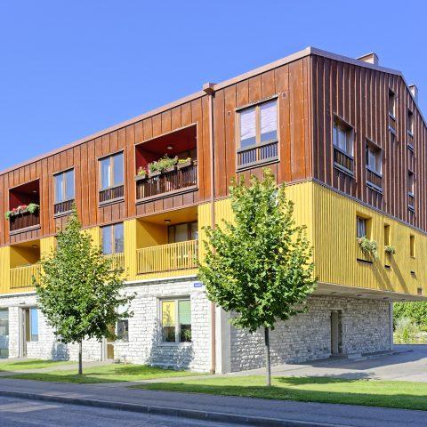 Bild: Modernes Mehrfamilienhaus in Kalamaja. NIKON D700 mit AF-S NIKKOR 28-300 mm 1:3.5-5.6G ED. ISO 200 ¦ f/9 ¦ 28 mm ¦ 1/320 s ¦ kein Blitz. Klicken Sie auf das Bild um es zu vergrößern.