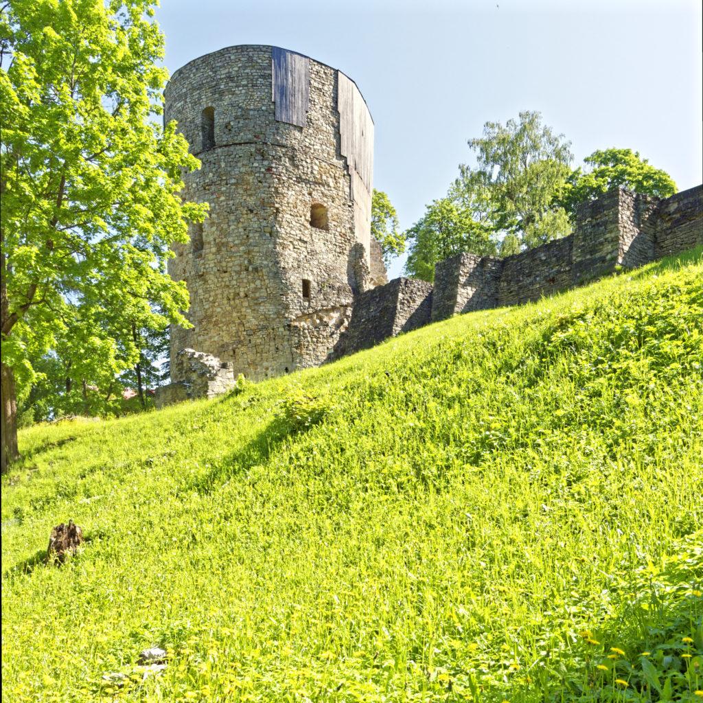Bild: Blick vom Schlosspark auf die Ordensburg von Cēsis. OLYMPUS OM-D E-M1 Mark II und M.ZUIKO DIGITAL ED 7‑14mm 1:2.8 PRO. ISO 200 ¦ f/7.1 ¦ 12 mm ¦ 1/250 s ¦ kein Blitz. Klicken Sie auf das Bild um es zu vergrößern.