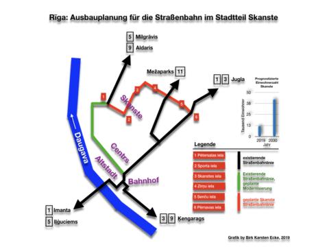 Bild: Routenplan für die Einbindung der neuen Straßenbahn im Stadtteil Skanste in das bestehende Netz von Rīga.
