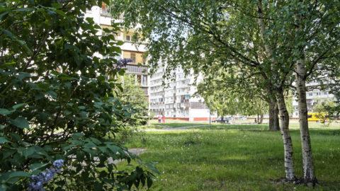Bild: Im Stadtteil Zolitūde in Rīga wohnen heute etwa 20.000 Menschen. Bis 1984 war hier vorwiegend Ödland oder karge Felder. Die gezeigten Plattenbauten sind bis 1991 entstanden. Danach hat man die Bautätigkeit vorübergehend einsgestellt.
