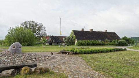Bild: Verlassener Bauernhof am linken Ufer der Abava in Jaunkandava. Die für Lettland obligatorischen Katzen fehlen auf diesem Foto auch nicht.