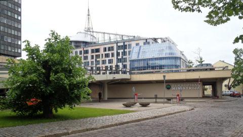 Bild: Rīga - Das Centra nams am Republikas laukums - dem Platz der Republik - auf dem Gelände der ehemaligen Zitadelle am nördlichen Rand der Altstadt.