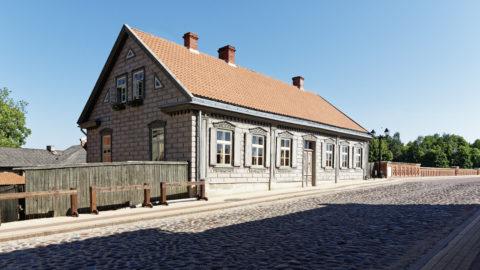 Bild: Die Kleinstadt Kuldīga in Kurzeme (dt.: Kurland) ist eine etwas skurrile Stadt. Natürlich gibt es auch hier gepflegte Häuser. An der Brücke über den Fluss Venta. Klicken Sie auf des Bild um es zu vergrößern.