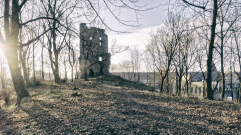 Image: The neighborhood of Sarkandaugava in the Nortern district of Rīga. Artificial castle ruin in Aldara parks. Click on the image to enlarge it.