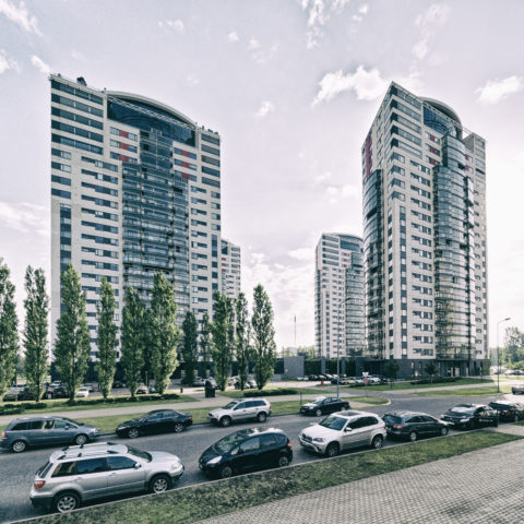 Image: The Neighborhood of Skanste in Rīga. The multi-storey apartment houses Skanstes virsotnes. Click on the image to enlarge it.
