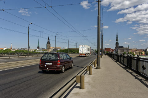 Image: The Akmens tilts - Stone Bridge - in Rīgā. View from the bridge to the old town. Double click on the image to enlarge.